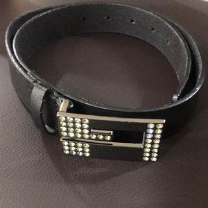 Black belt, buckle with crystals